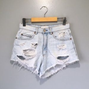 High Waist Ripped Blue Festival Shorts Garage